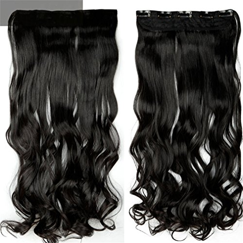 """Price comparison product image 28"""" One Piece Long Clip In Hair Extension Half Full Head Real Natural Remy Hair Extentions Curly Synthetic Hairpiece #1B 18inches"""