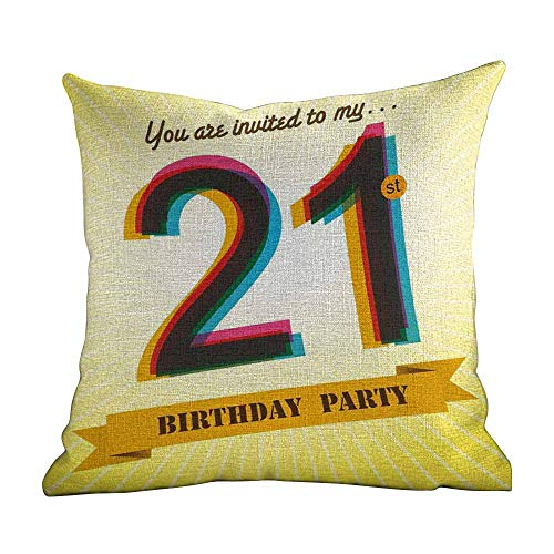 Matt Flowe Custom Pillowcase for Kids 21St Birthday,Invitation to an Amazing Birthday Party On A Golden Colored Backdrop Image,Multicolor,for Sofa Bed (Only Pillowcase,No Pillow) 14