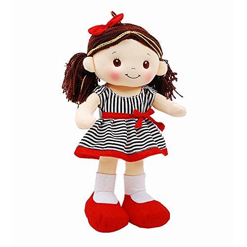 Linzy Plush Stripe Dress Emma Doll with Spanish Music, Black/Red, 16