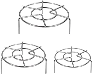 3 Sizes Trivet Rack Stand Stainless Steel, Set of 3 Heavy Duty Pressure Cooker Steam Rack, Metal Steaming Rack, Pot Pan Cooking Stand (1.2 Inch, 2 Inch)