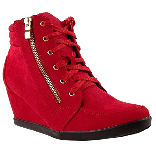 Tennis Bootie Heel Ankle Up Women Platform Sneakers Shoes High Top Wedge Lace TAx81OS