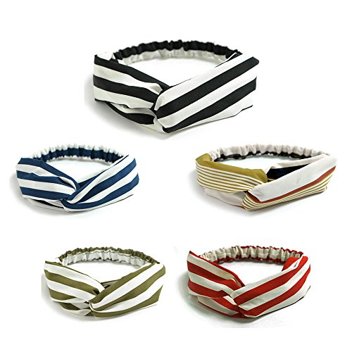 Women's Headband Cloth Stripe Type Head Wrap Hair Band 5 Pieces