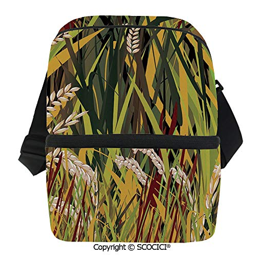 SCOCICI Thermal Insulation Bag Reeds Dried Leaves Wheat River Wild Plant Forest Farm Country Life Art Print Image Lunch Bag Organizer for Women Men Girls Work School Office Outdoor ()
