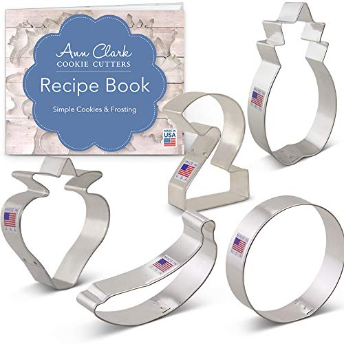 Twotti Fruitti Cookie Cutter Set with Recipe Booklet - 5 piece - Large #2, Banana, Strawberry, Pineapple and Circle - Ann Clark - USA Made Steel ()