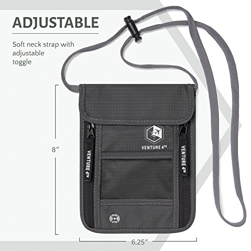 51UNsDnEmML - Venture 4th Travel Neck Pouch With RFID Blocking - Travel Wallet Passport Holder (Grey)