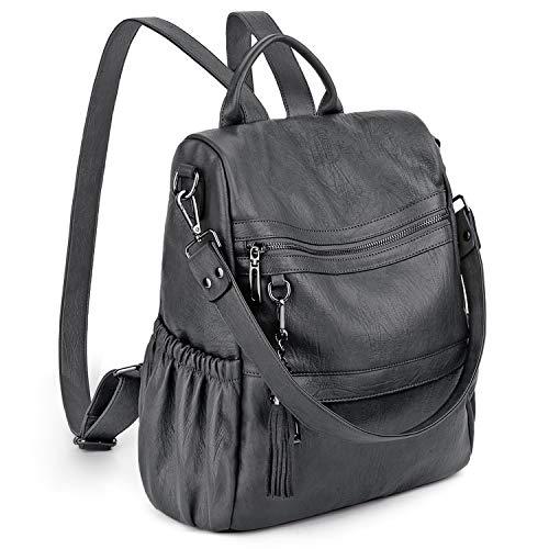 UTO Women Backpack Purse Anti-Theft PU Leather Convertible Ladies Rucksack Tassel Zipper Pocket Shoulder Bag Grey