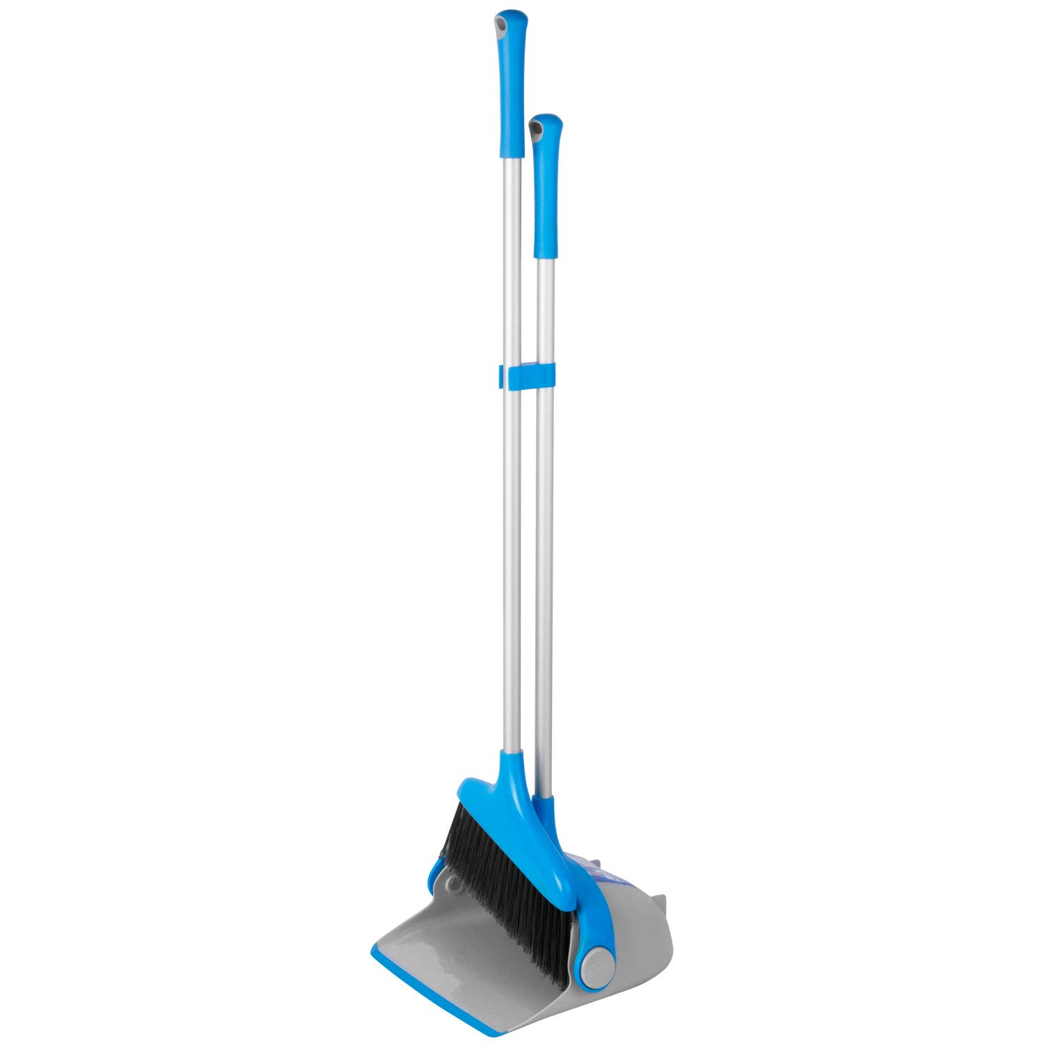 MR.SIGA Upright Broom and Dustpan Set, Blue&Gray
