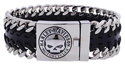 Harley-Davidson Men's Hidden Clasp Willie G Skull Bracelet, Black HSB0183 (9) (Men Bracelet Harley)