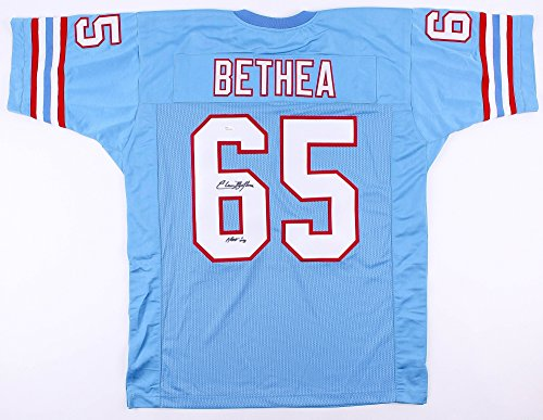 Elvin Bethea #65 Signed Houston Oilers Jersey Inscribed