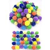 "TECH-P Glitter Poms Poms Sparkle Big Balls Pet Toy Balls Party Favors Arts Crafts Home Decoration Balls- Assorted Color (1.5""-30mm with Glitter- 100 Pack)"