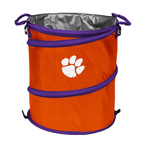 NCAA Clemson Tigers Adult Collapsible 3-in-1 Trash Can, Orange