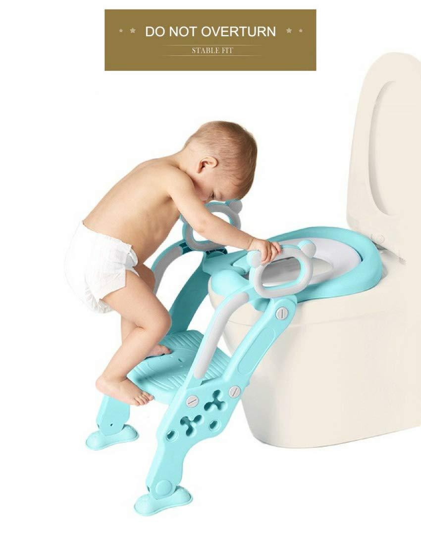 Reductor WC para Niños Acolchado Suave con Escalón Plegable Abatible Ajustable | Adaptador de Váter Infantil Estable, Antideslizante, Sin Esquinas | Inodoro ...
