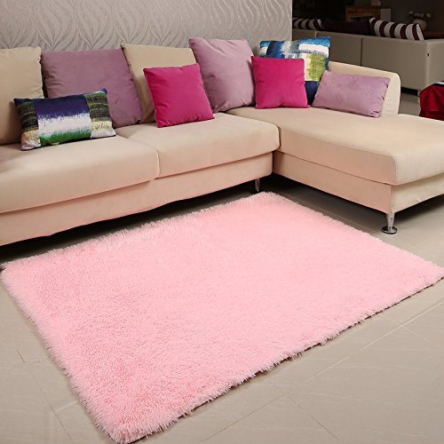 Light Pink Plush Rectangle Livingroom Carpet Super Soft