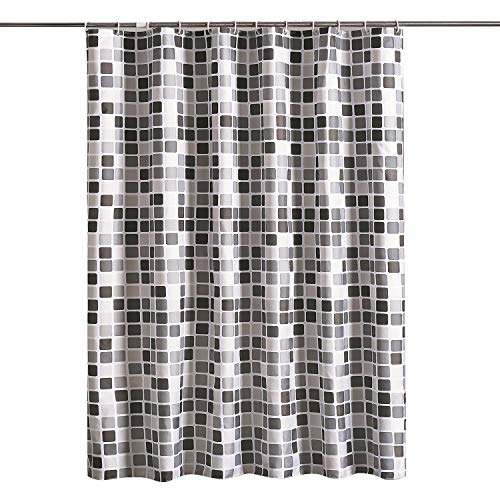 Free Curtain Patterns - lanshe Gray Smart Printed Pattern, Waterproof Polyester Fabric Shower Curtain with Free Hooks for Bathroom (72 Inch by 80 Inch)- (Gray Mosaic, 72Inchx80Inch) ...
