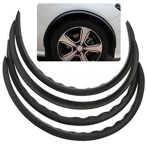 (Super PDR 4pcs Carbon Fiber Car Truck Wheel Well Molding Fender Trim Universal Black Wheel Eyebrow Protector Lip Sticker)