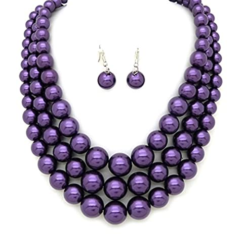 Women's Three Multi-Strand Simulated Pearl Statement Necklace and Earrings Set (Purple) (Multi Strand Statement Necklace)