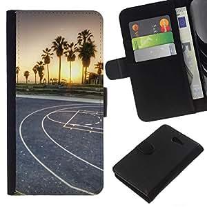 NEECELL GIFT forCITY // Billetera de cuero Caso Cubierta de protección Carcasa / Leather Wallet Case for Sony Xperia M2 // LA Miami Street Basketball