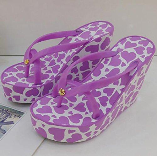 Antiscivolo Amore Piattaforma Cuneo Shangxian Design blue Tacco 35 Purple Pantofole Modello Scarpe Estate Con Di Infradito Donna gqAYwvPzq