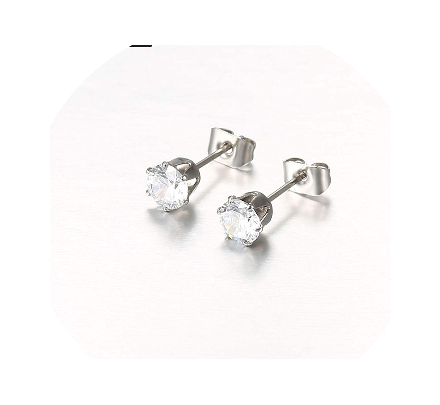 Square Ball Spike Crystal Rose Gold Color Earings Ear Stud for Women Brinco