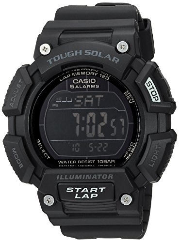 Casio Men's 'TOUGH SOLAR' Quartz Stainless Steel and Resin Sport Watch, Color:Black (Model: STLS-110H-1B2CF) (Stainless Stl)