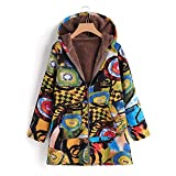 GIFC Fashion Women Plus Size Hooded Long Sleeve Cotton Linen Fluffy Fur Zipper Coat Outwear