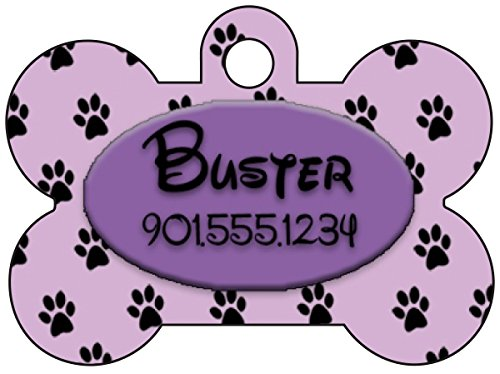 (Personalized Dog Tag Pet ID Tag Paw Prints w/Name & Number (Purple))