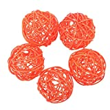 #10: Wicker Rattan Balls,WinnerEco 5pcs DIY Round Rattan Balls Wicker Ornament Wedding Party Decor(Orange)