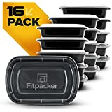 Fitpacker Meal Prep Containers - Plastic Microwavable Stackable Reusable Storage (28oz - Set of 16)
