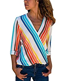 AoMoon Womens Casual V Neck Striped Chiffon Blouses Long Sleeve Wrap Tops Shirts