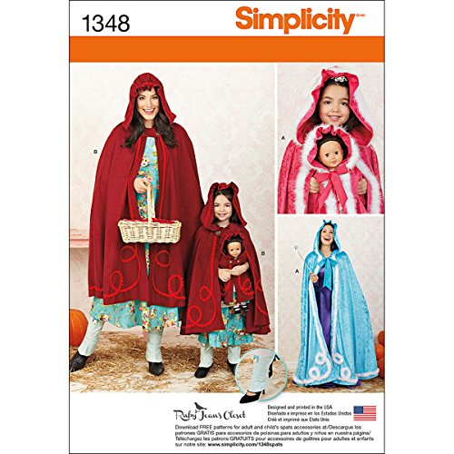 Little Red Riding Hood Patterns (Simplicity Creative Patterns 1348 Misses', Child's and 18-Inch Doll Capes Sewing Patterns, Size A (3-8/XS-XL))