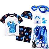 Monvecle Little Boys' 6-Pieces Short Sleeve Rash Guard Swimsuit Set with Swim Cap UPF 50+ White 5-6y