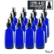 12 Pack- 4 Oz - Cobalt Blue Boston Round Glass Bottle With Fine Mist Spray Nozzle 118 ML - For Hydrosol, Cosmetics, Kitchen, Bathroom, Oils, Perfume, Lab, Travel. - Anti-Leak, Re-Usable -By Katzco
