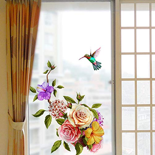 HUABOS Self-Adhesive PVC Window Glass Frosted Film Flower Pattern Static Cling Removable Mural Decal Sticker Decoration for Bathroom Shower Door
