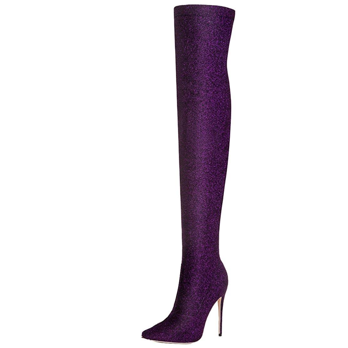 AIYOUMEI Damen Spitz Schnellverschluss Overknee Stiefel mit 12cm Absatz Stiletto High Heels Elegant Abend Schuhe Lila