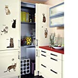 Wall Stickers,GOODCULLER DIY Cats Party Children's Room Glass Window TV Background Wall Decoration Removable Wall Stickers Home Decor