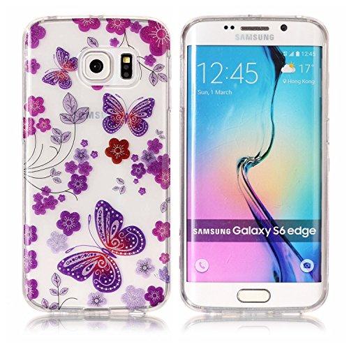 Funda Samsung Galaxy S6 Edge , E-Lush Transparent Bling Suave Silicona TPU Carcasa Ultra Delgado Flexible Gel Parachoques Goma Mate Clear Glitter Case Cover Impresión patrón Bumper Amortigua Golpes Pr Mariposa