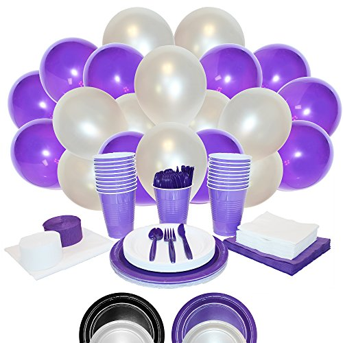 Purple and White Party Kit in a Box - Soir�e Box - Party Supplies, Decorations, and Tableware (16 Guests)