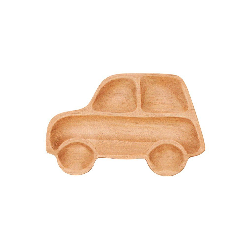 Time Concept Kids Petits Et Maman Wooden Car Jr. Plate - Eco-Friendly, Handcrafted Dinnerware by Time Concept (Image #1)