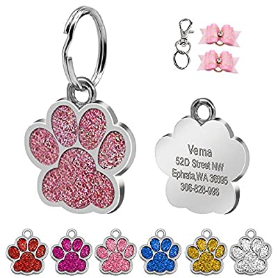 Didog Glitter Paw Print Pet ID Tags for Small Dogs and Cats,Free Engraved and Hair Bows Gift