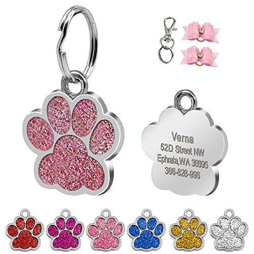 51UNwkyMgUL - Didog Glitter Paw Print Custom Pet ID Tags for Small Medium Large Dogs and Cats,Personalized Egraving