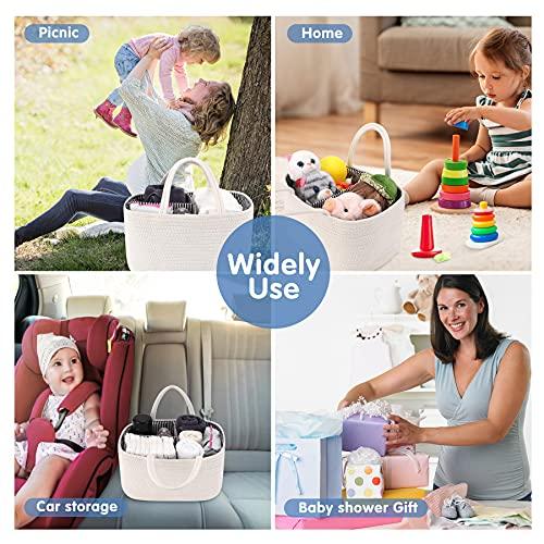 ABenkle Diaper Caddy Organizer, Cotton Rope Nursery Baby Registry Basket for Baby Boys Girls Shower Gifts, Newborn Essentials Must Haves