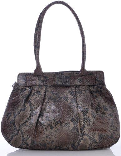 ARA Bags ara Damen Handtaschen Henkeltaschen Schultertaschen Shopper Taschen Animalprint Python Braun Schwarz 37x28x12 cm (B x H x T)