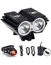 CDC® Waterproof 5000 Lumen 2x CREE XML U2 LED Cycling Bicycle Bike Light Lamp HeadLight Headlamp Black Color + 8.4V 6400mAh Battery Pack + 1 x Free Rear Light