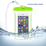 Universal Waterproof Case, WEKSI Transparent Luminous PVC Waterproof Bag for IPhone 6 6S 6 Plus 6S Plus, Galaxy S7 Edge S6 Edge S7 S6 S5 S4 S3, Galaxy Note 5 4 3 Green