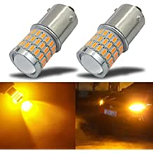 iBrightstar Newest 9-30V Super Bright Low Power 7507 PY21W BAU15S 2641A LED Bulbs with Projector replacement for Turn Signal Lights,Amber Yellow