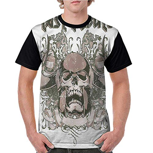T Shirt,Viking,Spooky Skull Figure Floral S-XXL Baseball Tee for Girls