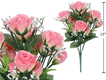 Amazon 7 stem small roses with baby breath artificial flower 7 stem small roses with baby breath artificial flower pink mightylinksfo