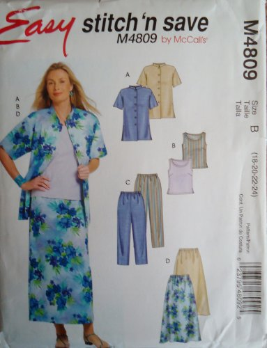 (Easy Stitch 'N Save By Mccall's #M4809 Skirt, Tank, Pants and Jacket Pattern Size B (18-24))