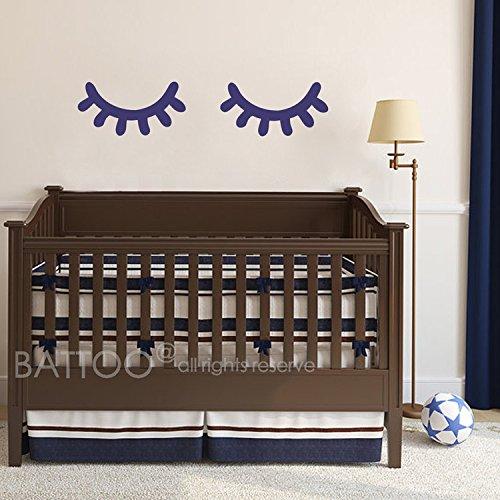 BATTOO Eyes Wall Decal - Sleep Eyes Sticker - Kids Wall Decal Baby Crib Wall Decor - Door Decal - Eyes Sticker(brown, 7.5