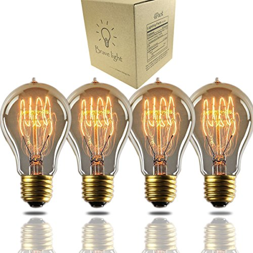 A19 Edison Bulb 60Watt,Vintage Bulb Dimmable Squirrel Cage Filament Edison Lihgt Bulb For Home Light Fixtures Decorative(4 Pack)